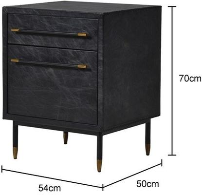Leather Side Cabinet Contemporary Two Drawers image 2