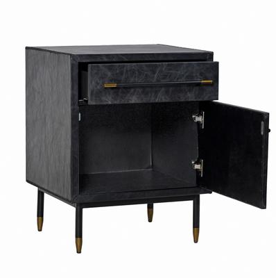 Leather Side Cabinet Contemporary Two Drawers image 3