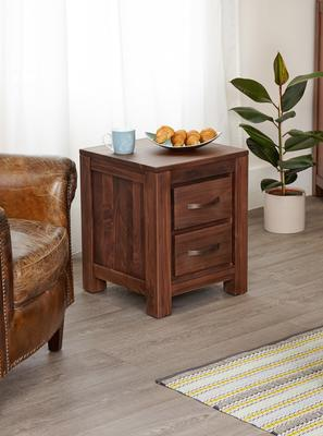 Mayan Walnut Two Drawer Bedside Table Rustic