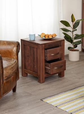Mayan Walnut Two Drawer Bedside Table Rustic image 3