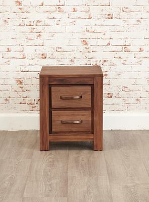 Mayan Walnut Two Drawer Bedside Table Rustic image 5