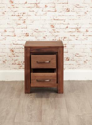Mayan Walnut Two Drawer Bedside Table Rustic image 6