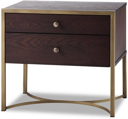 Rivoli Bedside Table Brown Ash Steel or Brass Frame image 10