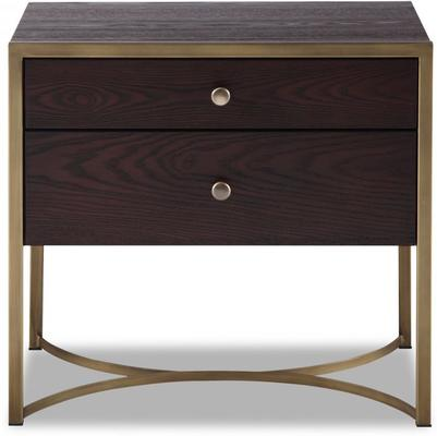 Rivoli Bedside Table Brown Ash Steel or Brass Frame image 11