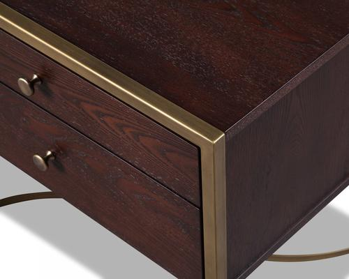 Rivoli Bedside Table Brown Ash Steel or Brass Frame image 14