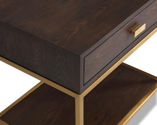 Levi Black Ash and Steel Bedside Table image 3
