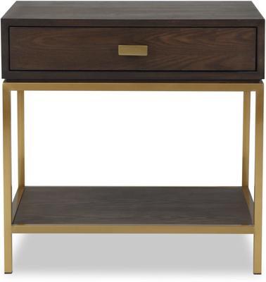 Levi Black Ash and Steel Bedside Table image 4