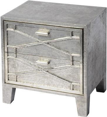 Astor Hand Embossed Metal Bedside Table 2 Drawer