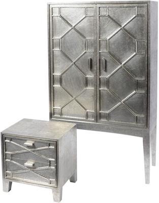Astor Hand Embossed Metal Bedside Table 2 Drawer image 2