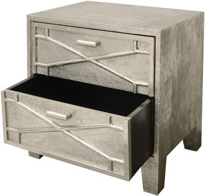 Astor Hand Embossed Metal Bedside Table 2 Drawer image 3