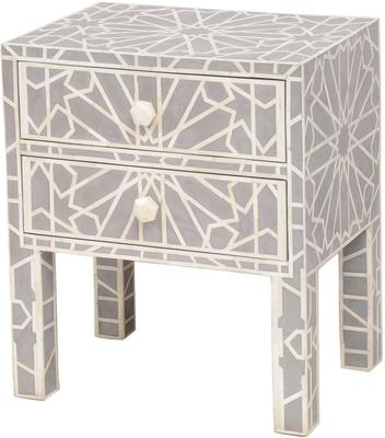 Floreat Mottled Blue Grey Bone Inlaid Bedside Table 2 Drawer