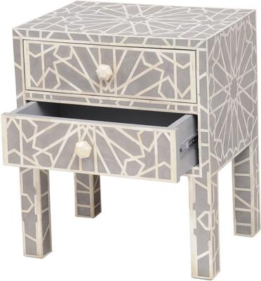 Floreat Mottled Blue Grey Bone Inlaid Bedside Table 2 Drawer image 2