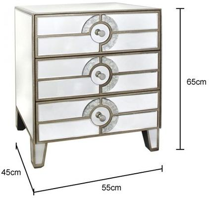 Mirrored Art Deco Bedside Table image 2