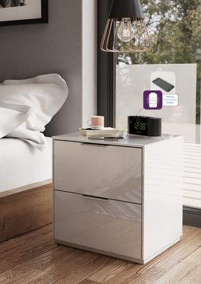 Smart Pure White Gloss Bedside Chest 2 Drawers with hidden wireless Phone Charging