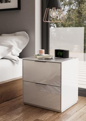 Smart Pure White Gloss Bedside Chest 2 Drawers with hidden wireless Phone Charging image 3