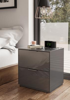 Smart Pure Grey Gloss Bedside Chest 2 Drawers with hidden wireless Phone Charging image 2