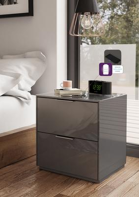 Smart Pure Grey Gloss Bedside Chest 2 Drawers With Hidden
