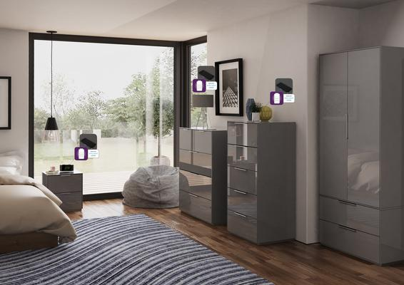 Smart Pure Grey Gloss Bedside Chest 2 Drawers with hidden wireless Phone Charging image 3