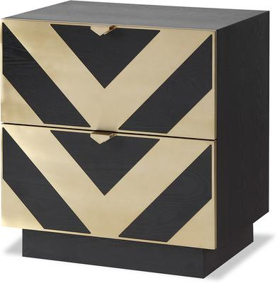 Unma Bedside Table Black and Metallic Retro Chevron Design