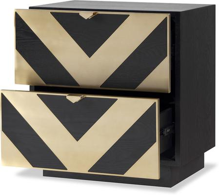 Unma Bedside Table Black and Metallic Retro Chevron Design image 2