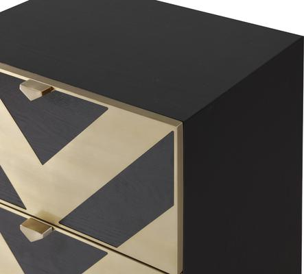 Unma Bedside Table Black and Metallic Retro Chevron Design image 4