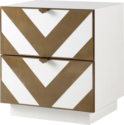 Unma Bedside Table Black and Metallic Retro Chevron Design image 5