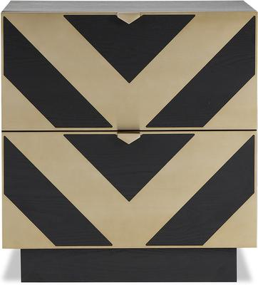Unma Bedside Table Black and Metallic Retro Chevron Design image 11