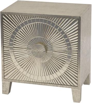 Coco Silver Embossed Metal Bedside Table 2 Drawer
