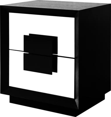 Etna Bedside Table Wenge Wood 2 Mirrored Drawers