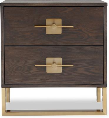 Ophir Bedside Table 2 Drawers Dark Brown Oak and Brass image 2