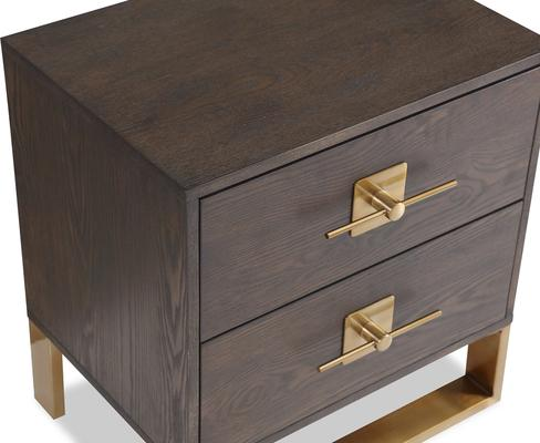 Ophir Bedside Table 2 Drawers Dark Brown Oak and Brass image 3