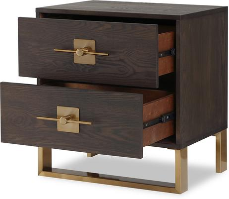 Ophir Bedside Table 2 Drawers Dark Brown Oak and Brass image 4