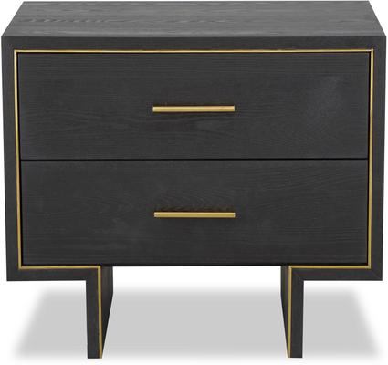 Tigur Bedside Table Black or Brown Ash with Brass Detail image 9