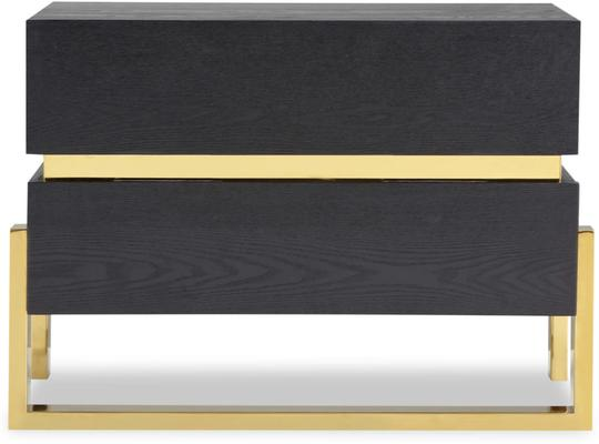 Enigma Black Ash Wide Bedside Table with Brass Detail