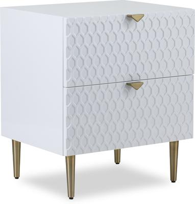 Bolero Bedside Table 2 Drawers in Gloss White or Steel Grey