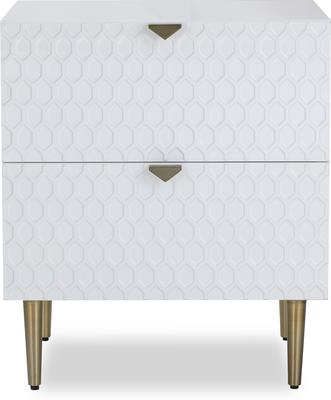 Bolero Bedside Table 2 Drawers in Gloss White or Steel Grey image 2