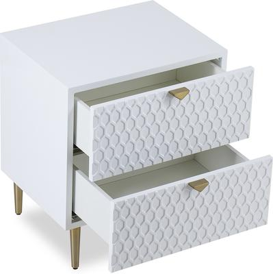 Bolero Bedside Table 2 Drawers in Gloss White or Steel Grey image 3