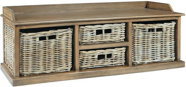 Washed Rattan Low Four Basket Drawer Storage Unit