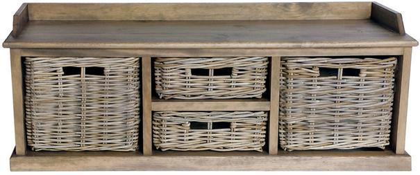 Washed Rattan Low Four Basket Drawer Storage Unit image 2