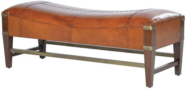 Tan Leather and Wood Bench