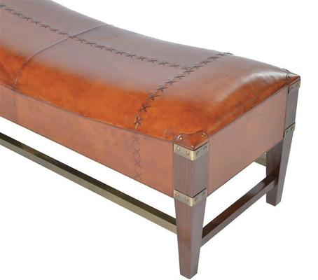 Tan Leather and Wood Bench image 2