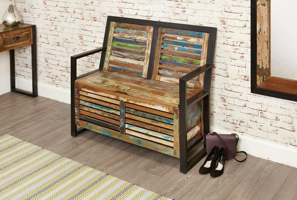 Shoreditch Rustic Monks Bench Reclaimed Wood image 3