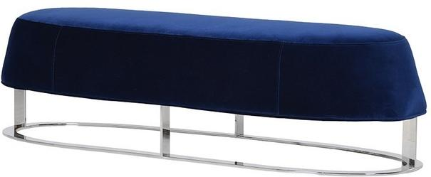 Blue Velvet and Stainless Steel Bench
