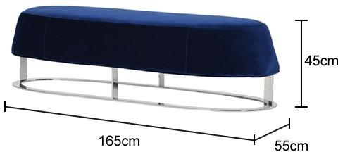 Blue Velvet and Stainless Steel Bench image 2