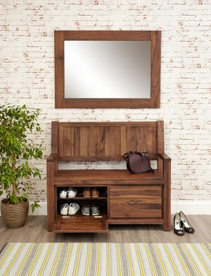 Mayan Walnut Monks Rustic Bench with Shoe Storage image 3