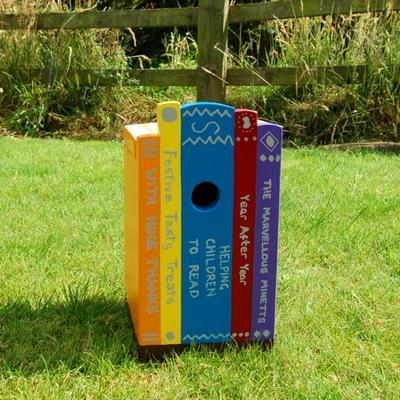 Books on Shelf Bird Box