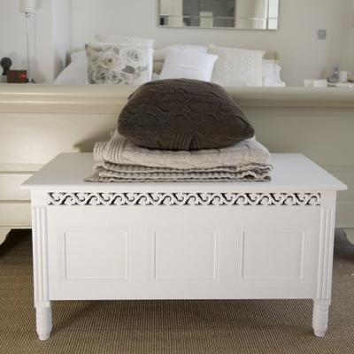 Traditional White Painted Blanket Storage Box