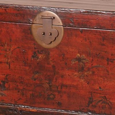 Red Lacquer Painted Blanket Box image 6