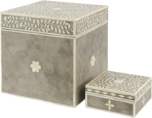 Petals Grey Bone Inlaid Square Storage Trunk image 2