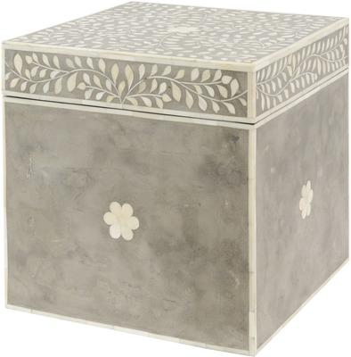 Petals Grey Bone Inlaid Square Storage Trunk